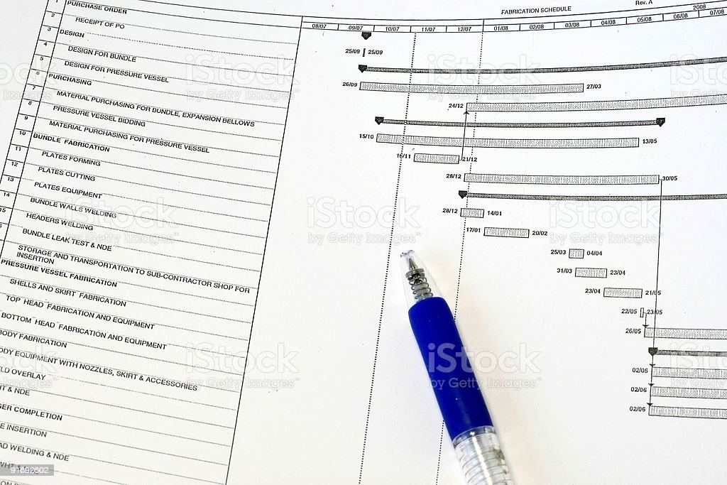 Manufacturing Project Schedule royalty-free stock photo