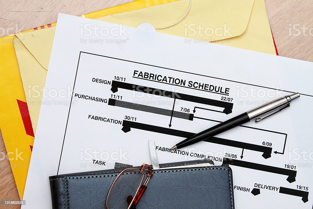 manufacturing schedule stock photo