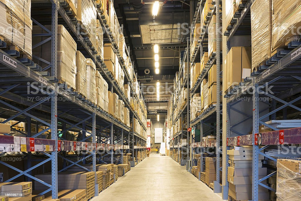 Manufacturing storage warehouse stock photo