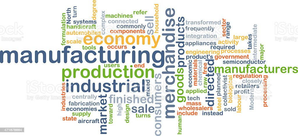 Manufacturing wordcloud concept illustration stock photo