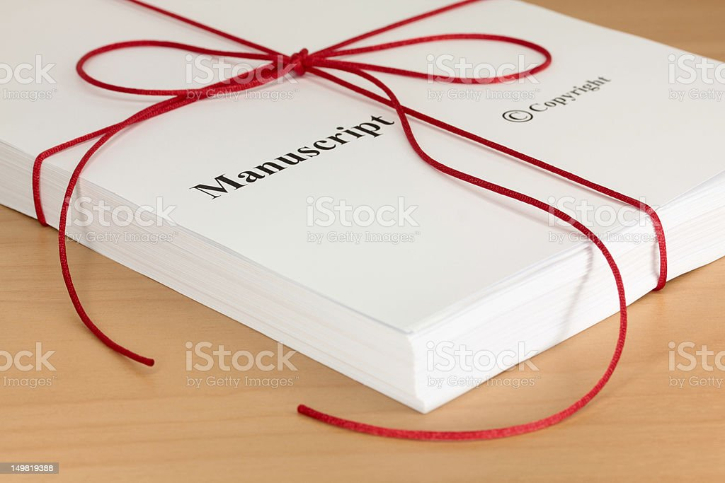 Manuscript from Author with Red Twine Closeup royalty-free stock photo