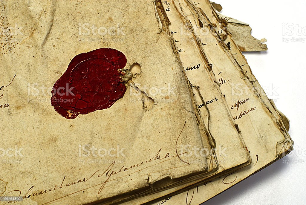 manuscript with stamp royalty-free stock photo