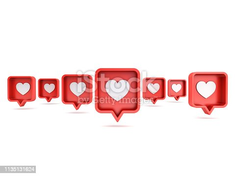 istock Many 3d social media notifications Love like heart icon in red rounded square pin isolated on white background with shadow 3D rendering 1135131624