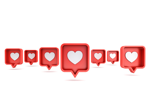 Many 3d social media notifications Love like heart icon in red rounded square pin isolated on white background with shadow 3D rendering