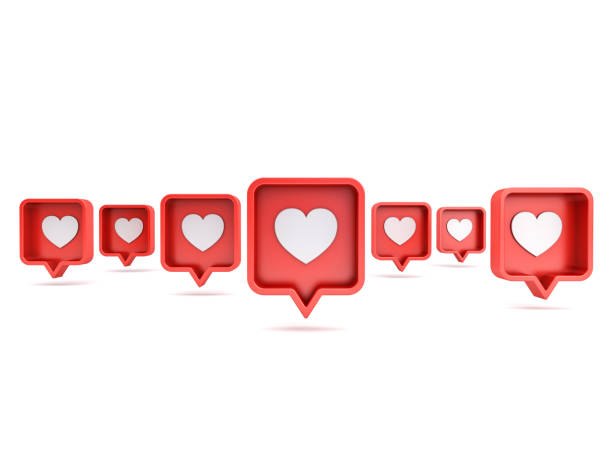 Many 3d social media notifications Love like heart icon in red rounded square pin isolated on white background with shadow 3D rendering Many 3d social media notifications Love like heart icon in red rounded square pin isolated on white background with shadow 3D rendering verbaasd stock pictures, royalty-free photos & images