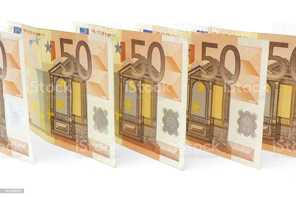 many 50 euro banknotes in line royalty-free stock photo