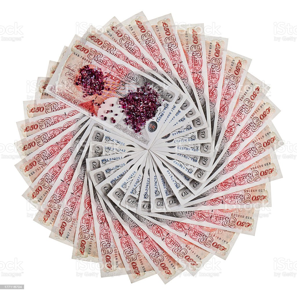 De 50 livres sterling bank notes avec carreau Déployé en éventail - Photo