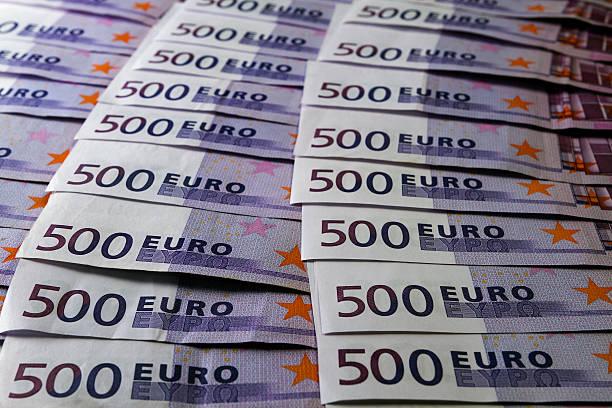 Many 500 Euro banknotes stock photo