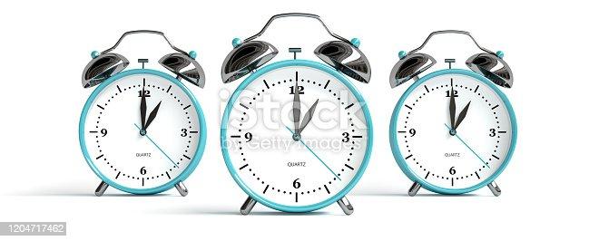 Many alarm clocks - 3 pieces - 3D rendering