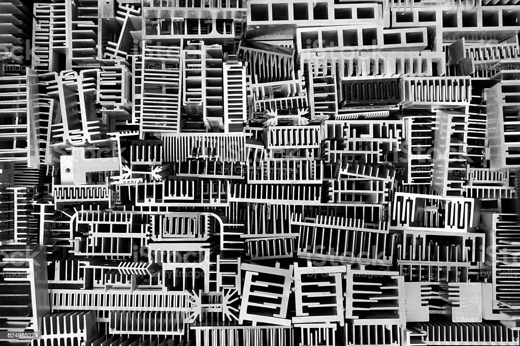 Many aluminum heatsinks. Technology recycling abstract background stock photo
