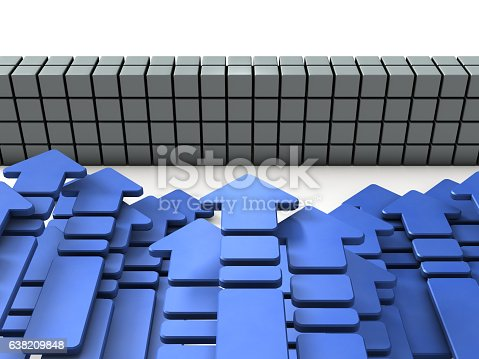 istock Many arrows in front of a wall 638209848