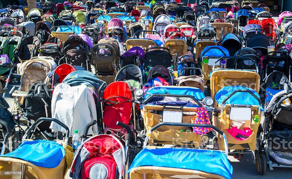 Many Baby Strollers - Royalty-free Amusement Park Stock Photo