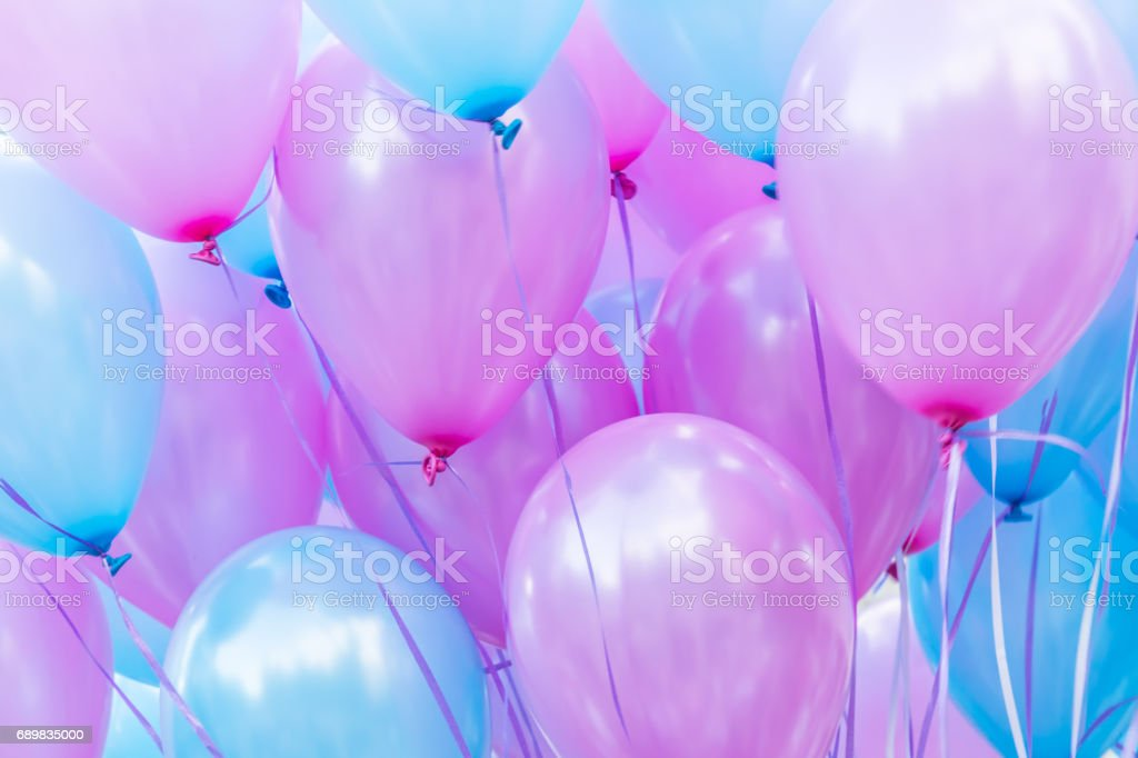 many balloons on a string, close-up abstract background stock photo