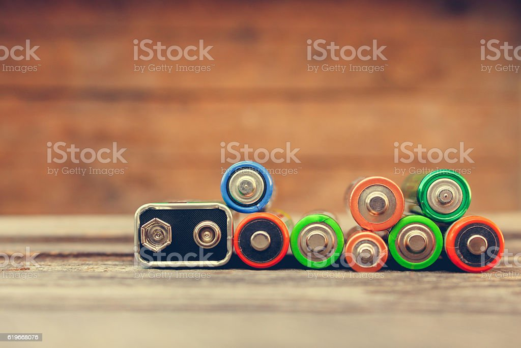 Many batteries stock photo