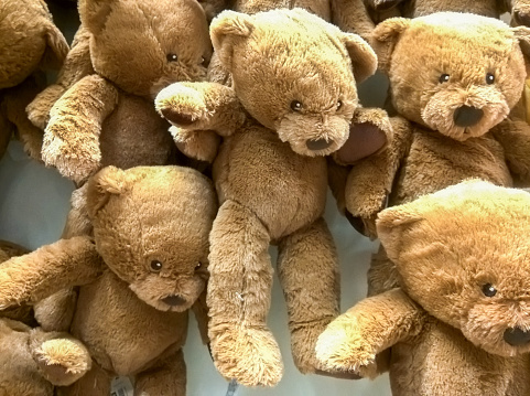 many bear dolls hang on the wall for sale in store.