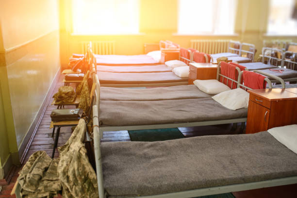 many beds in the military barracks of ukraine stock photo
