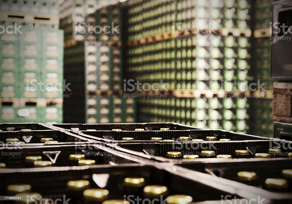 Many beer crates stock photo
