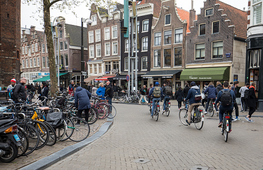 Amsterdam, Netherlands - April 20, 2017: Many bicycle parking in Amsterdam, Netherlands. Bicycle is populat transportation in Amsterdam, Netherlands