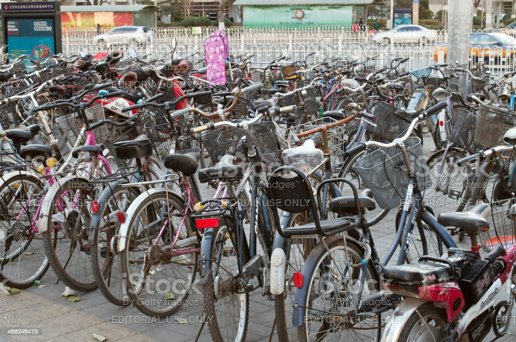 Many bicycles in a parking royalty-free stock photo