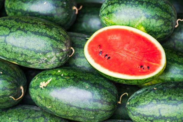 Muitas melancias verdes grandes - foto de acervo