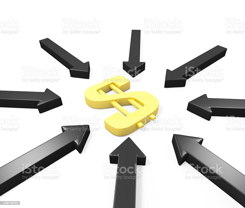 Many black arrows attack a golden dollar sign stock photo
