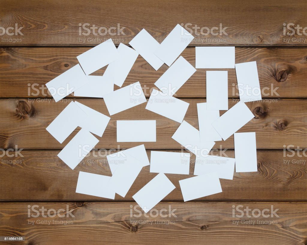 many blank business cards on wooden table stock photo istock