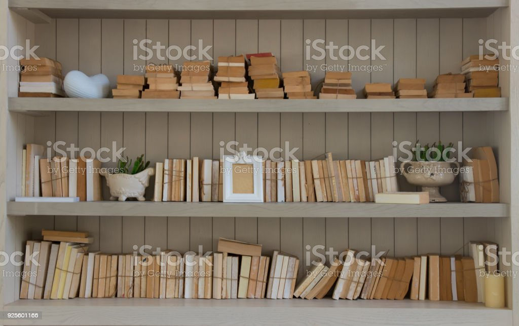 Many Blank Cover Book On White Wood Vintage Shelf With Home Decorate Royalty Free