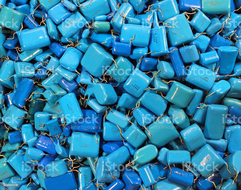 Many Blue Capacitors As Electronics Background Stock Photo More In Circuit Royalty Free