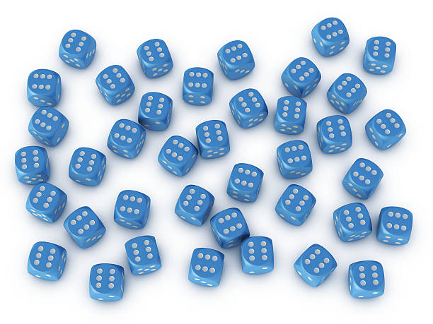 """Many Blue Dices Impossible Success """"3D Render of an impossible dice result: many blue dices, which are showing all the six. Very high resolution available!Related images:"""" blue 3d business NOT map NOT background stock pictures, royalty-free photos & images"""
