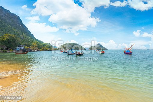 istock Many boats moored in sunrise morning time at Chalong port 1319464998