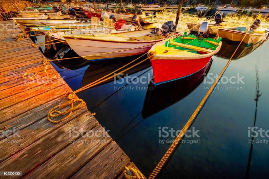 Many boats tied up at dock at sunrise stock photo