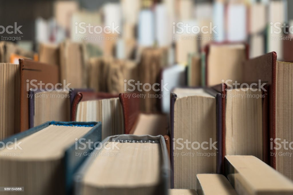 Many books in a bookstore or library stock photo