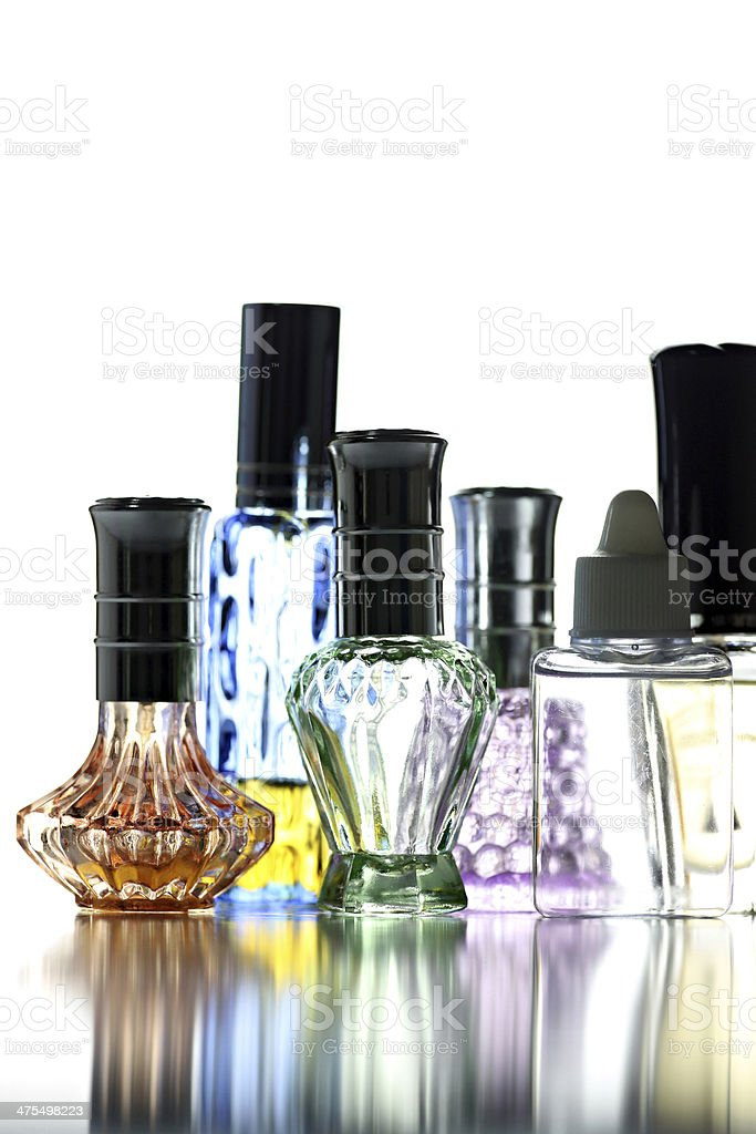 Many Bottle with Perfume different color isolated. royalty-free stock photo