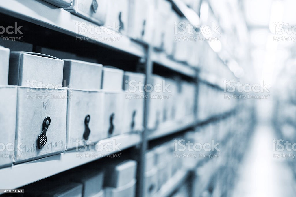 many boxes with photographs in a archive stock photo