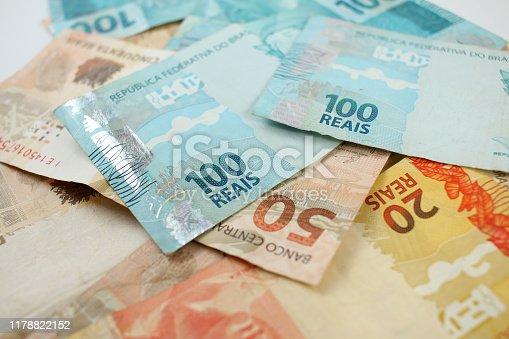 Many Brazilian Money Banknotes