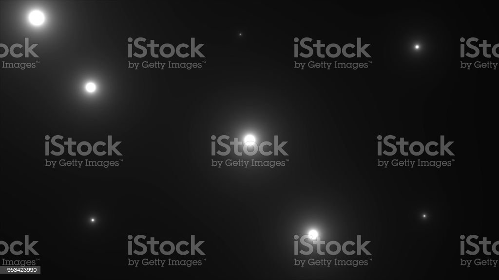 Many bright photo flashes with lights rays in darkness, 3d rendering computer generating backdrop stock photo