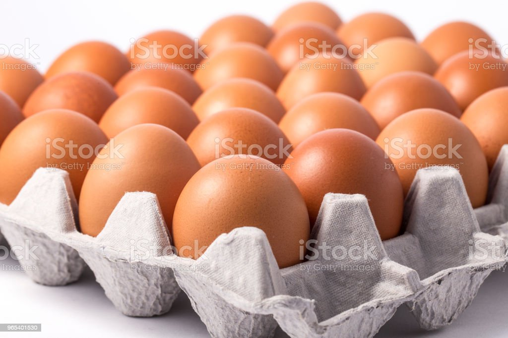 Many brown eggs in boxes. royalty-free stock photo