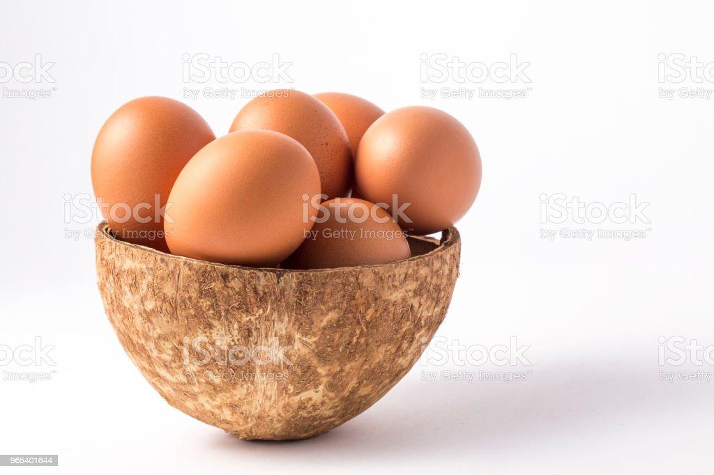 Many brown eggs in boxes. zbiór zdjęć royalty-free