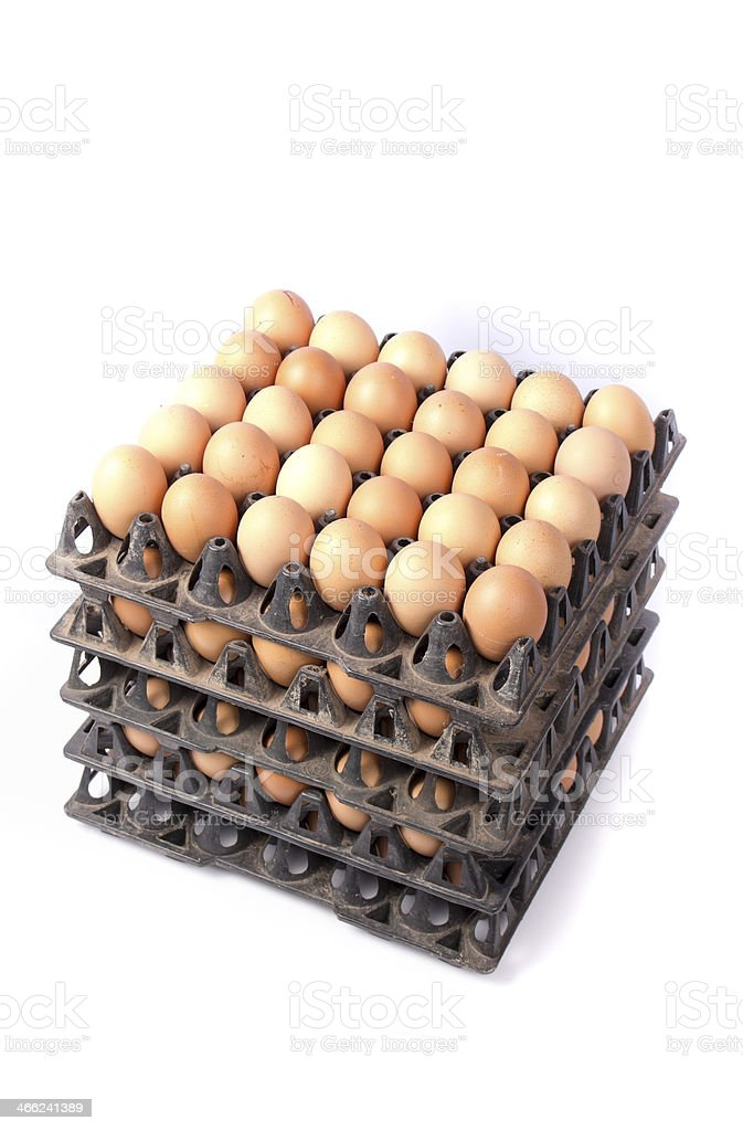 many brown eggs isolated on white royalty-free stock photo