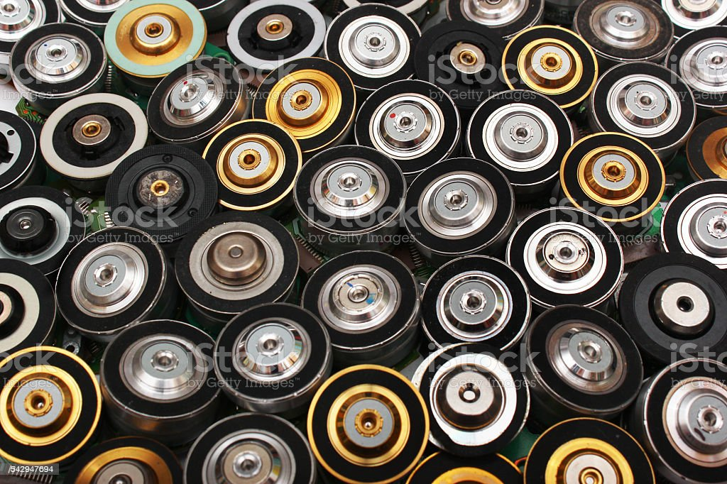 Many brushless electric motors from cd and dvd drives stock photo