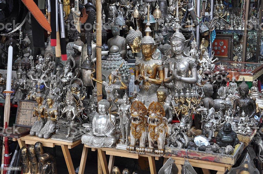 Many Buddha Statue Silver Shop royalty-free stock photo