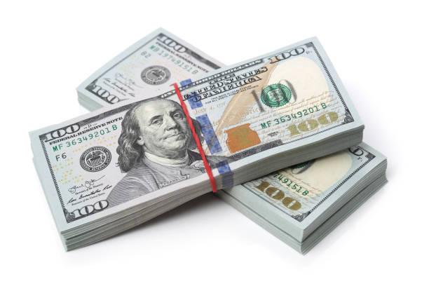 미국 100 달러 지폐 흰색 배경에 고립의 많은 번들 - 더미 뉴스 사진 이미지