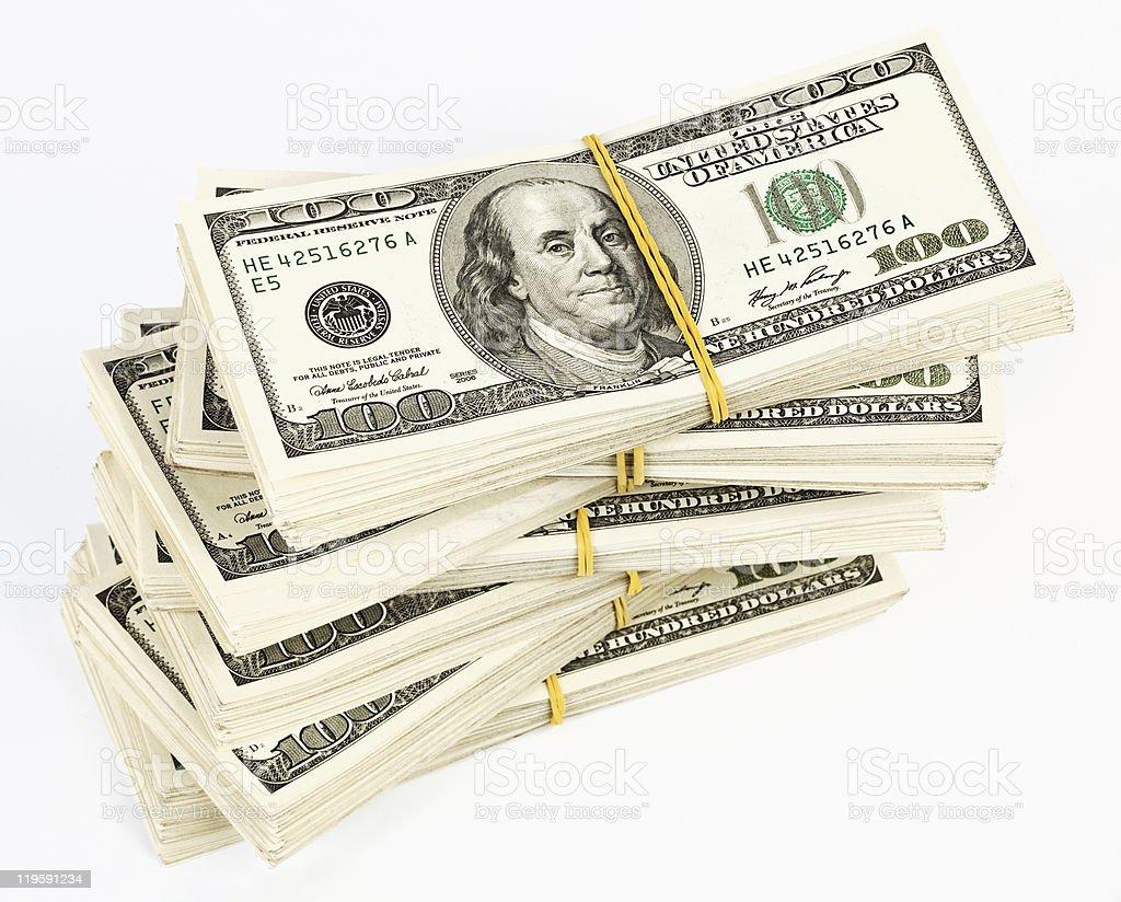 Many  bundle of US 100 dollars bank notes royalty-free stock photo