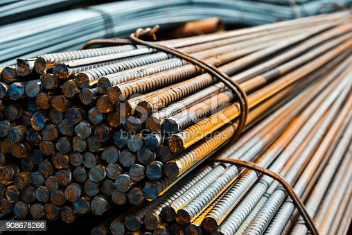 Many bundles of steel bar