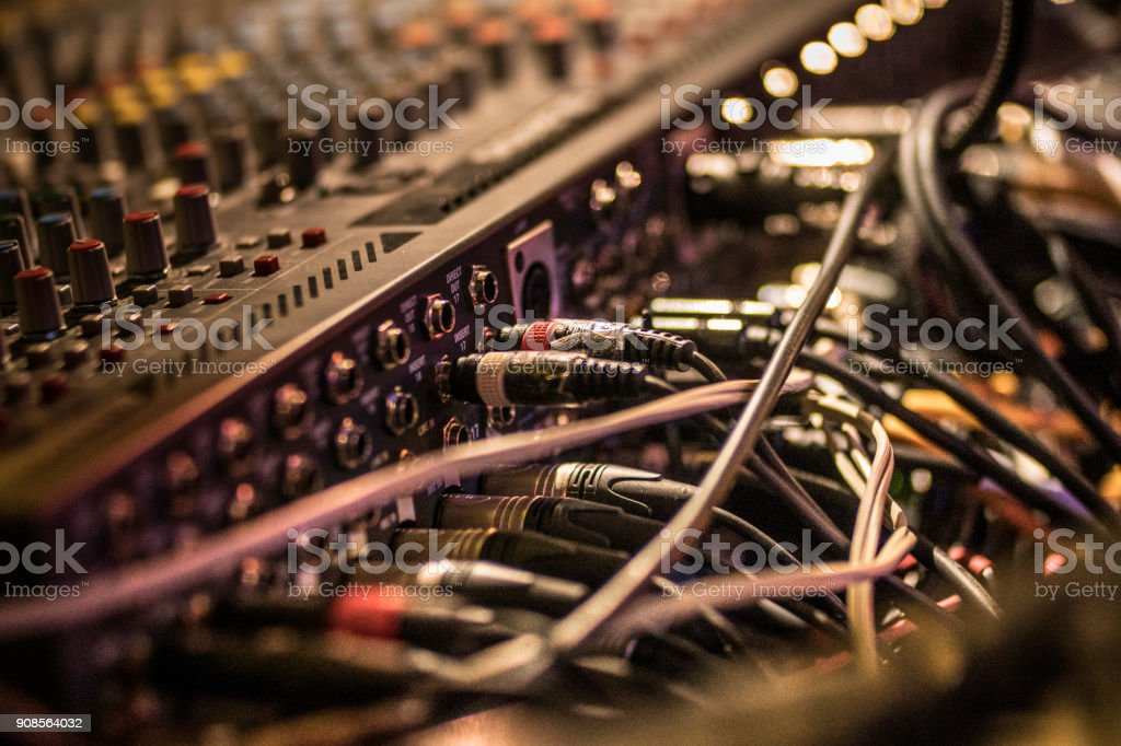 Many cables on the music recording mixer stock photo