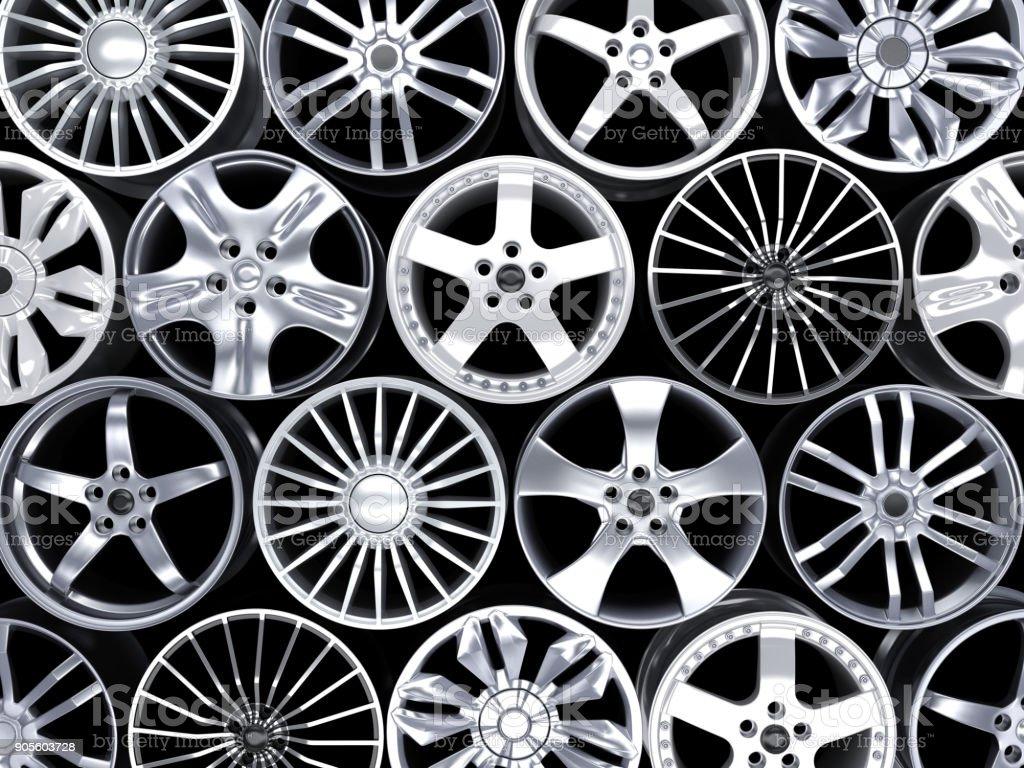 Many car disc on black background stock photo