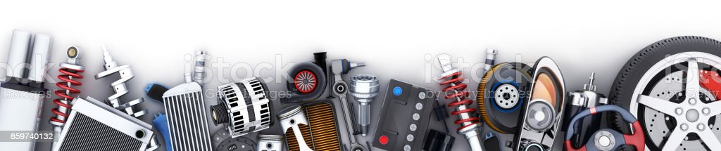 Many car parts row stock photo