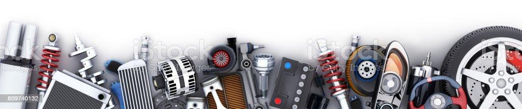 Many car parts row - foto stock