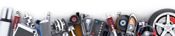 Many car parts row Many auto parts row. 3d illustration vehicle part stock pictures, royalty-free photos & images