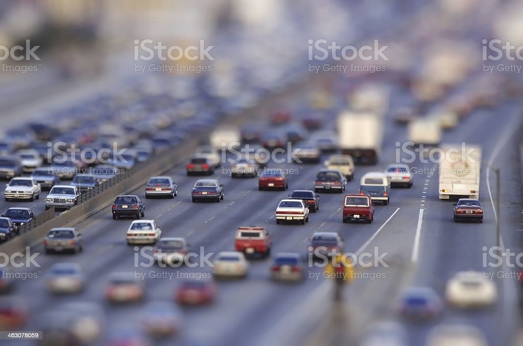 many cars on road stock photo